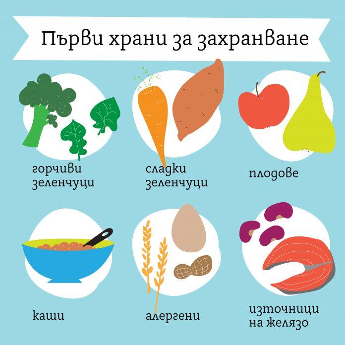 Първи храни за захранване на бебето